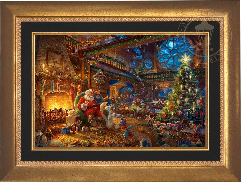 Thomas Kinkade - Santa's Workshop 18'' x 27'' Standard Number (S/N) Limited Edition Canvas (Aurora Gold Frame)