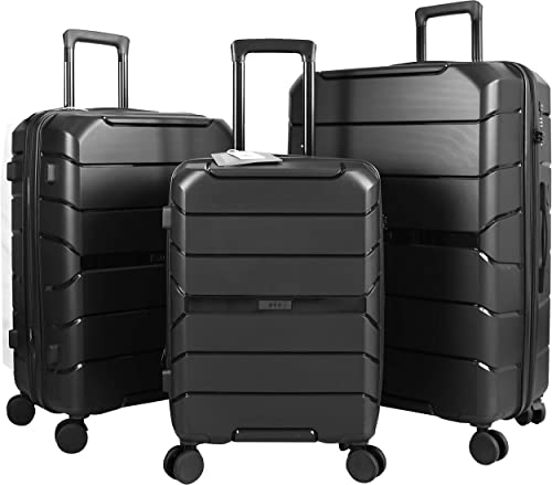 Expandable Luggage 3 Piece Set Suitcase Spinner Scratch Resist PP Hardside with TSA Lock and Dual Wheels, Black