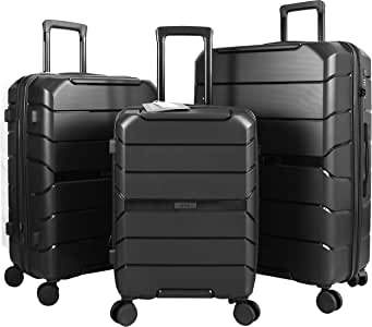 Travel Crescent PP Expandable Suitcases Hardside Luggage with Spinner Wheels, Black, 3-Piece Set (20/24/28)