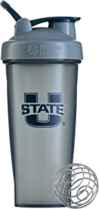 BlenderBottle Collegiate Classic 28-Ounce Shaker Bottle, Utah State University Aggies - Grey/Grey