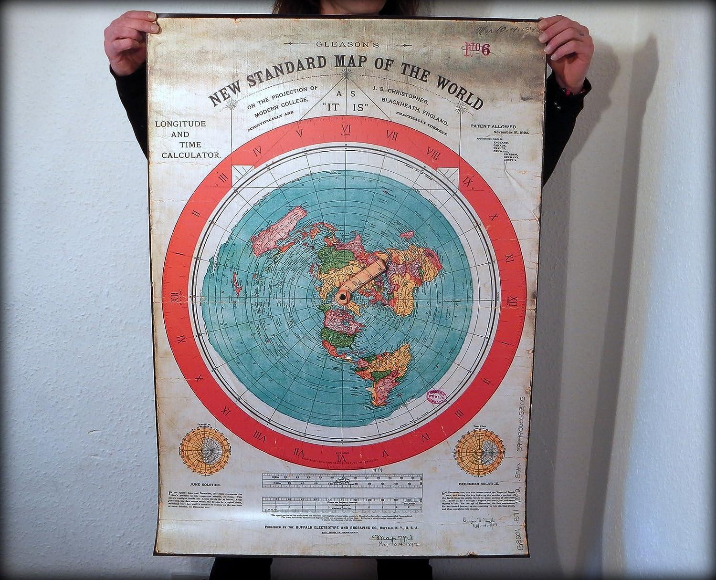Gleason Flache Erde Karte.Flache Erde Karte 40x28 Zoll Gleasons New Standard Map Of World