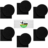 """Filters for Kitchen Compost Bin – Charcoal Filter Replacement 12 Pack, 1cm Thick, Fits Bucket Composter Gallon Pail Countertop Bins - Activated Carbon, 6 Round, 6 Square, Both 6.5"""", 1 Year Supply"""