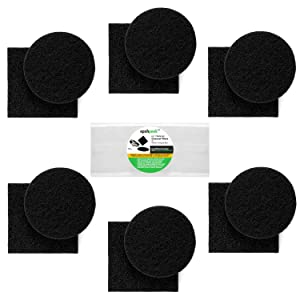 "Filters for Kitchen Compost Bin – Charcoal Filter Replacement 12 Pack, 1cm Thick, Fits Bucket Composter Gallon Pail Countertop Bins - Activated Carbon, 6 Round, 6 Square, Both 6.5"", 1 Year Supply"