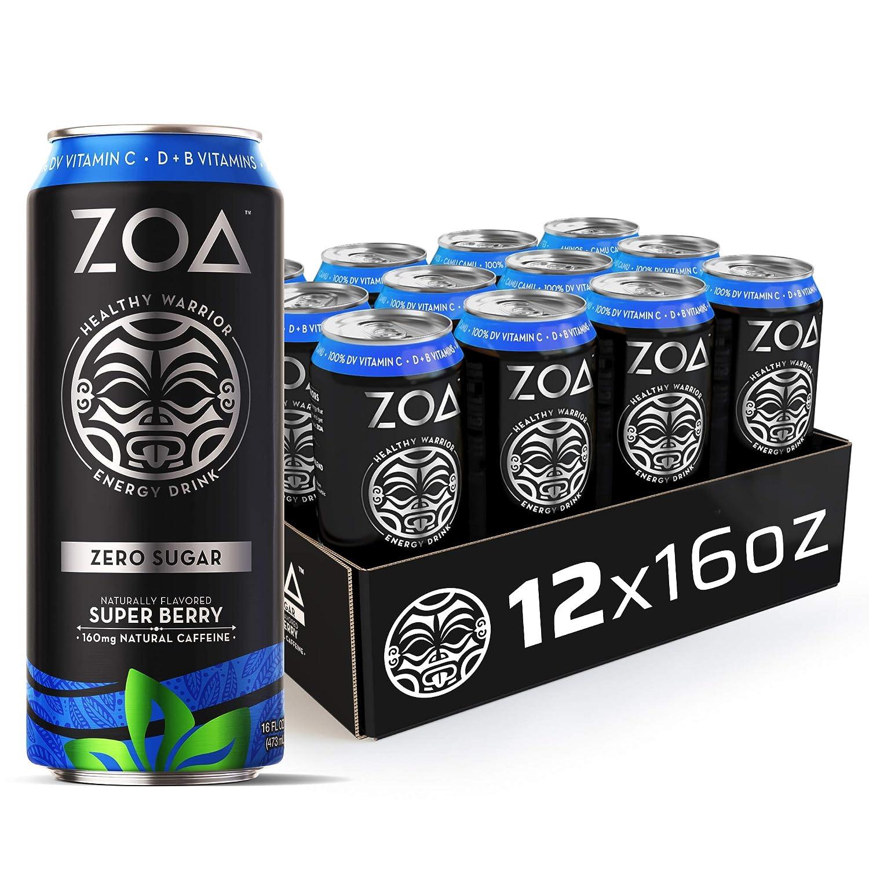 ZOA, Zero Sugar Energy Drink, Super Berry, 16 fl. oz. (Pack of 12) - Supports Healthy Immunity, Focus, Hydration, Body & Energy - 100% DV Vitamins C, B6 & B12