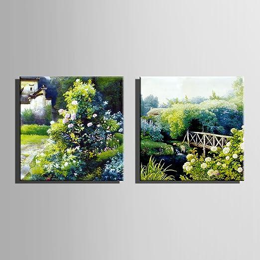Póster impreso de arte de jardín en color verde HD para decoración del hogar, decoración de pared, arte de pared (25 x 25 x 2 piezas sin marco): Amazon.es: Hogar