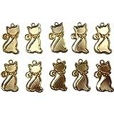 【HARU雑貨】ゴールド ミール皿 10枚セット/猫 キャット ネコ 金 g70/レジン パーツ