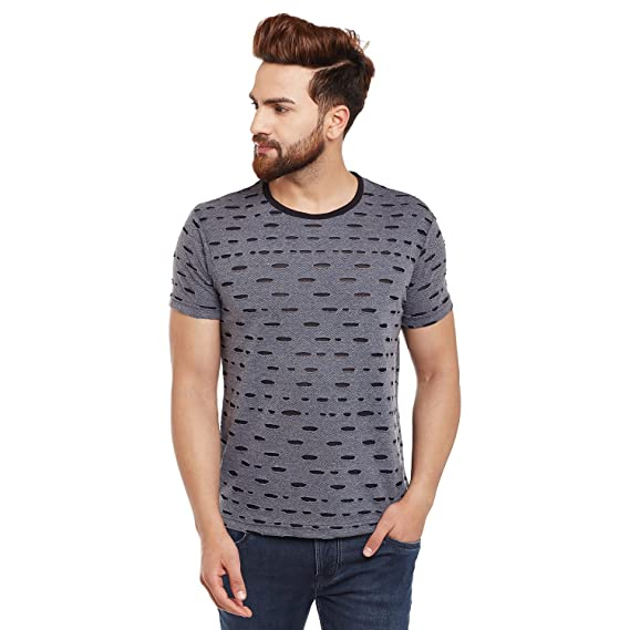 4a44e771846949 VIMAL Black Torn Look Round Neck Tshirt for Men  Amazon.in  Clothing ...