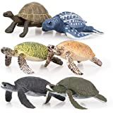 TOYMANY 6PCS Realistic Sea Turtle Figurines, Plastic Ocean Sea Animals Figures Set Includes of Turtles, Educational Toy Cake
