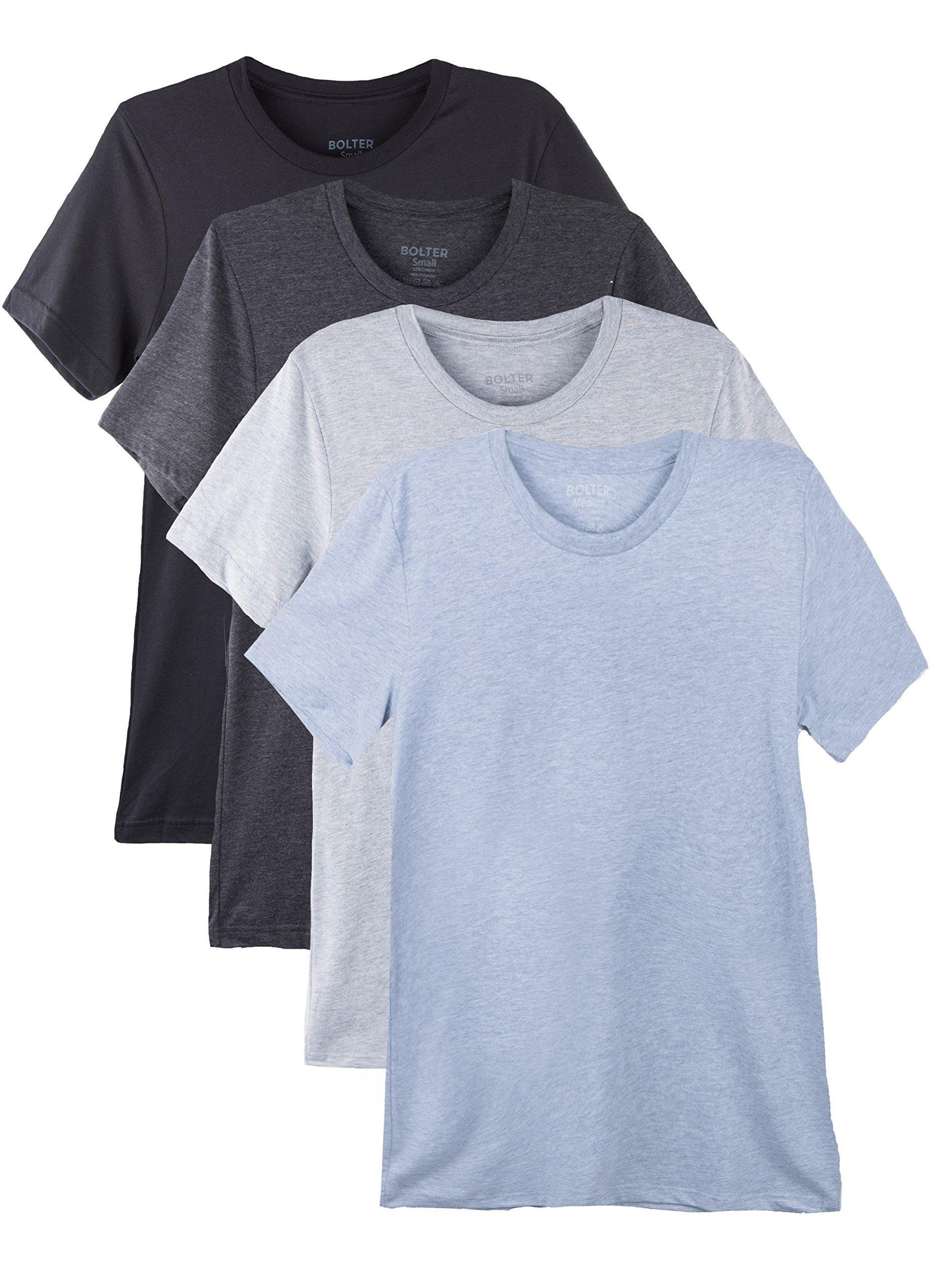 Bolter 4 Pack Men's Everyday Cotton Blend Short Sleeve T-Shirt (Medium, Blk/H.Greys) by Bolter