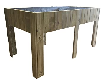 Grande Table de culture (potager urbain) en bois traité, 150 x 80 x ...