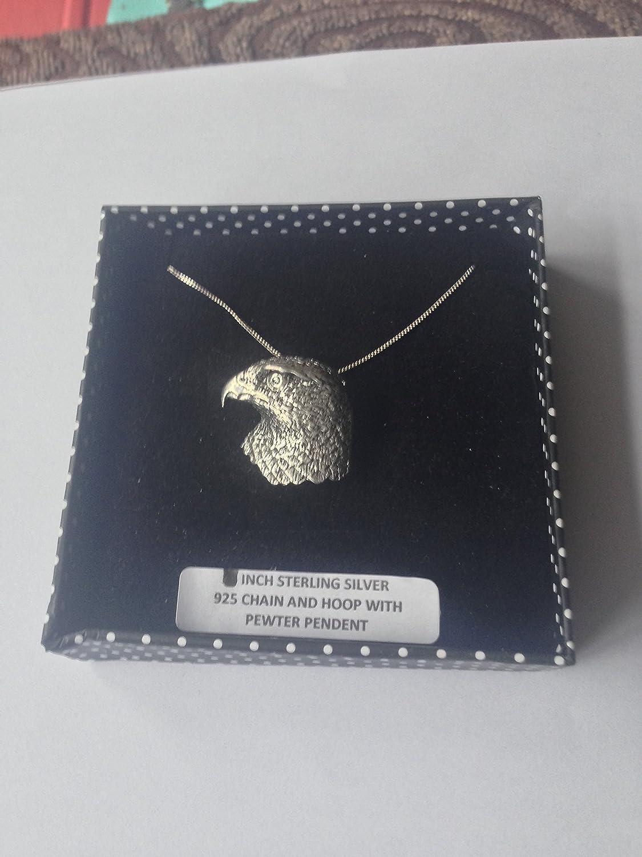 B32 Hawk's Head Pendentif en véritable argent sterling 925 Chaîne 18 'Collier fait à la main prideindetails avec boîte cadeau