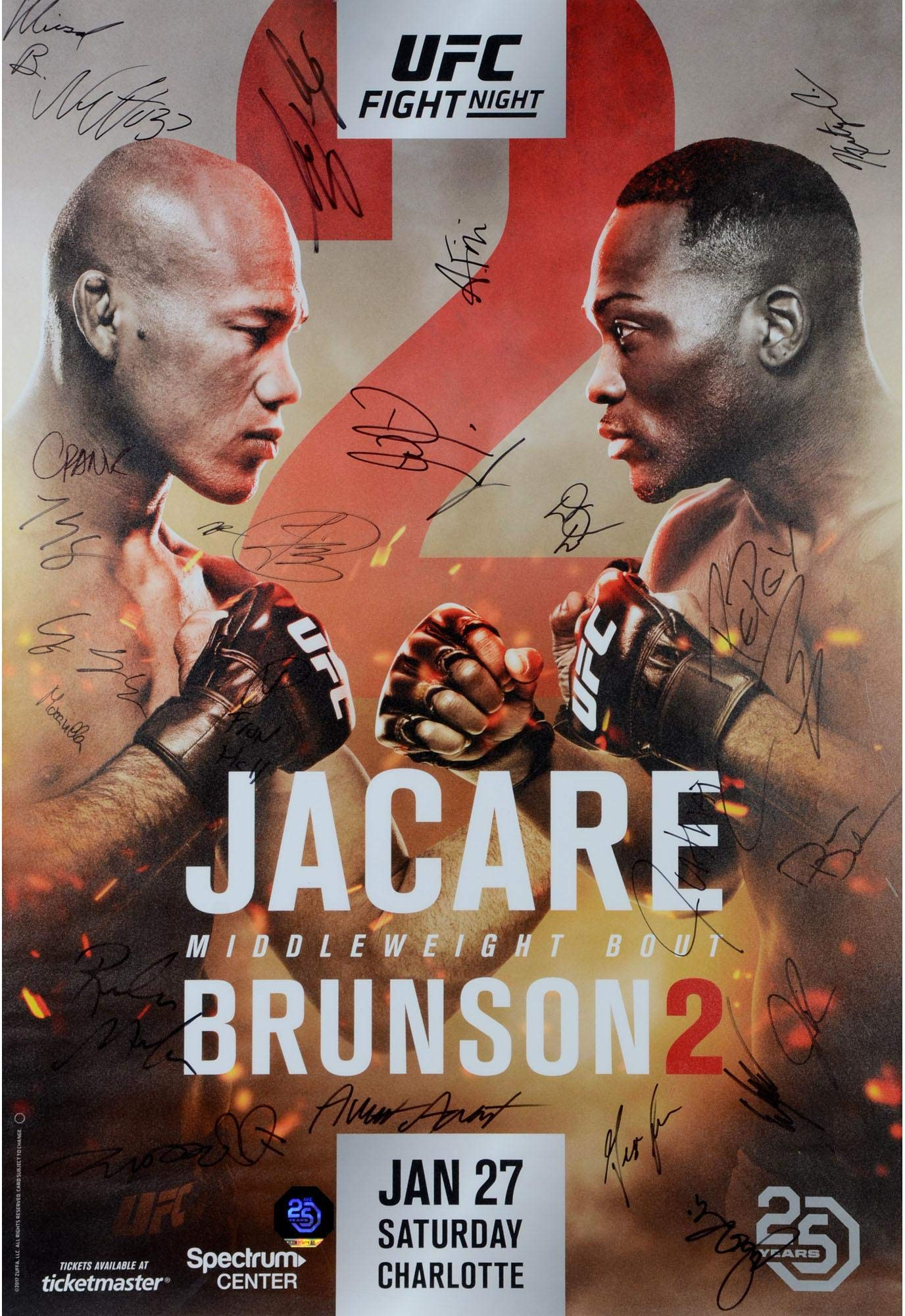 "UFC on FOX 27 Jacare vs. Brunson II Autographed 27"" x 39"" 24 Signature Fight Poster Fanatics Authentic Certified"