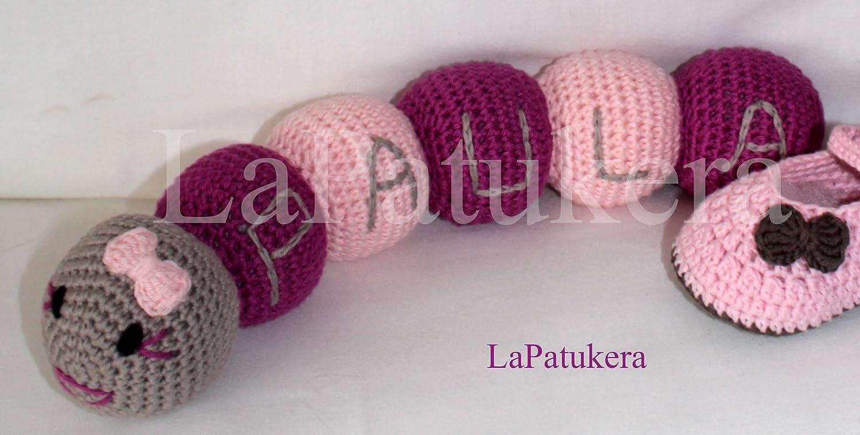 Amigurumi Puppe für häkeln Baby. Wurm mit benutzerdefiniertem Namen. Rosen Farbe Hergestellt in 100% Baumwolle. Stimuliert die Sinne des Babys Handgefertigt in Spanien. Geschenk für das Baby Spielzeug