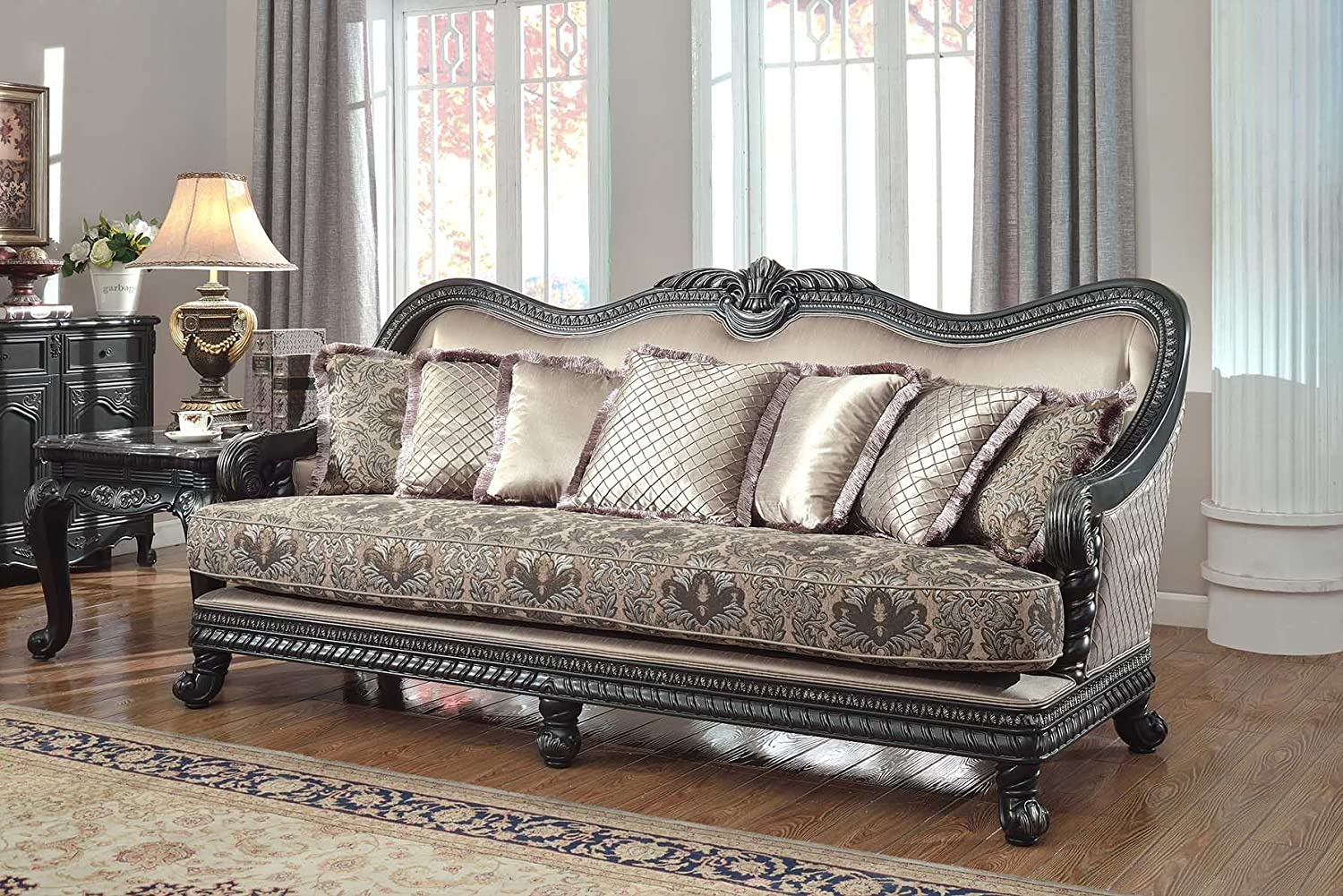 Amazon com meridian furniture 618 s florence solid wood sofa with french provincial handcrafted designs and imported fabrics black finish kitchen