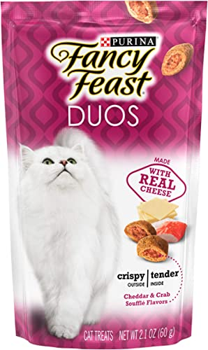 Purina Fancy Feast Duos Cat Treats Cheddar Crab Souffle Flavors 2.1 oz