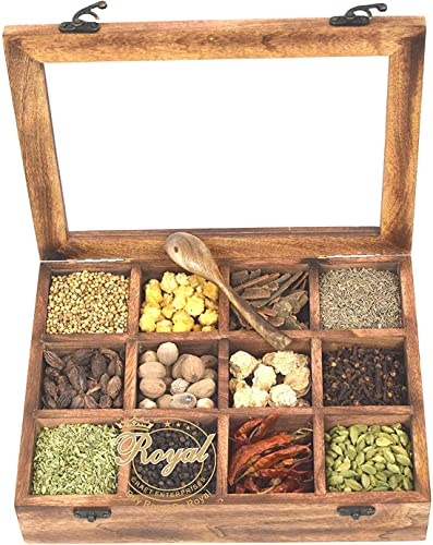 Wooden Spice Box Multipurpose Utility Table Top Spice Box Glass Top with Spoon Masala Dabba Dry Fruit Box 12 Container Mango Wood