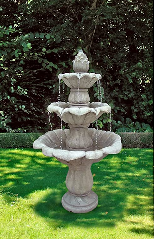 78cm Brunnen Holz Optik Wasserspiel Springbrunnen Gartenbrunnen ...