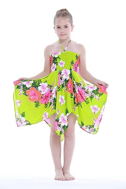 Niña gitano Botón desigual Hawaiian Luau vestido en Verde lima Blanco Floral 8