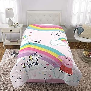 "Franco Kids Bedding Super Soft Microfiber Reversible Comforter, Twin/Full Size 72"" x 86"", Peppa Pig"