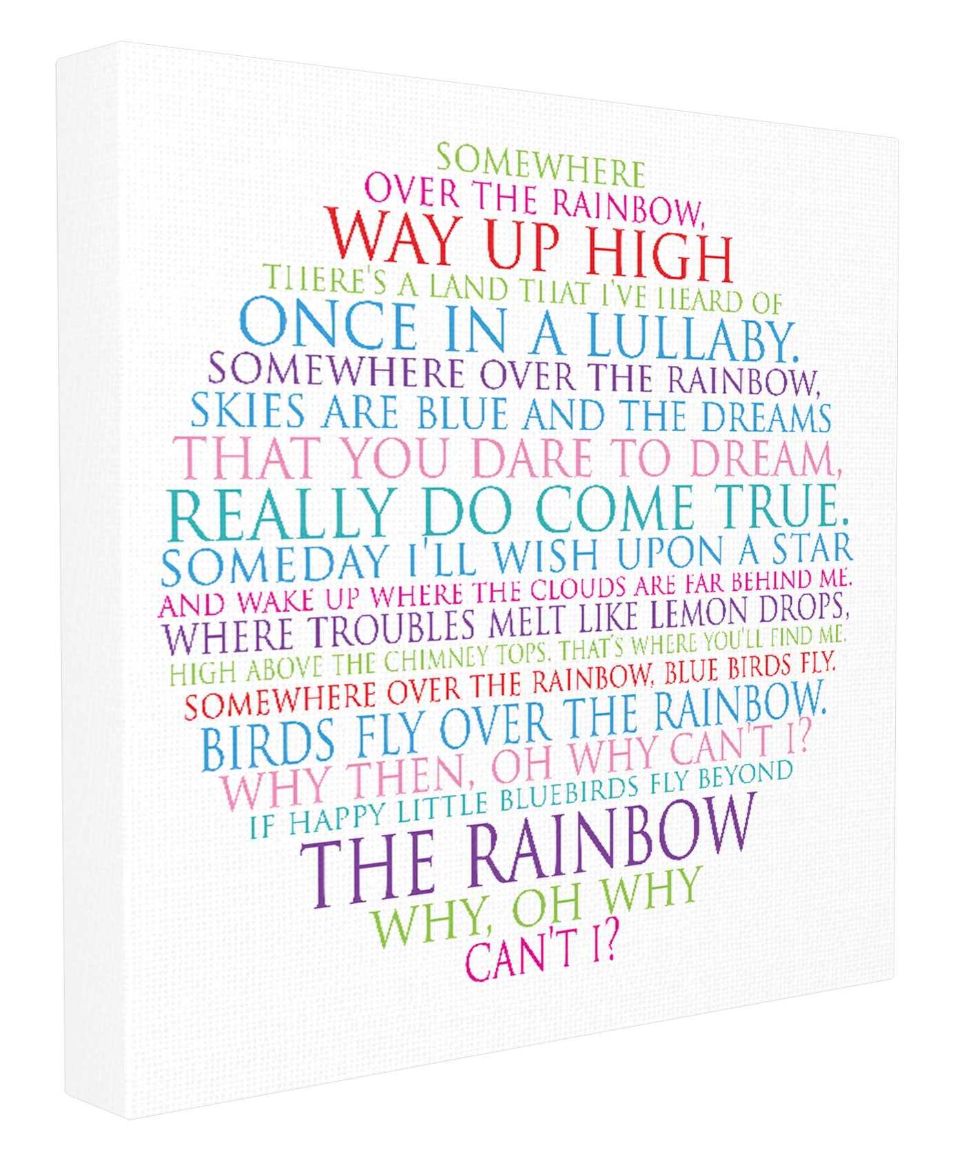 Stupell Home Décor Somewhere Over The Rainbow Circle Typog Stretched Canvas Wall Art, 17 x 1.5 x 17, Proudly Made in USA