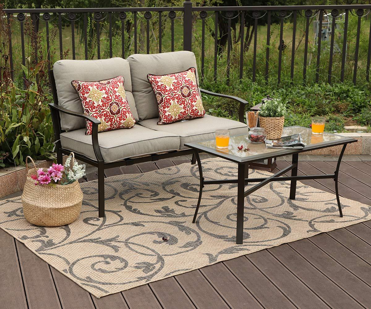 Amazon com phi villa 2 pc loveseat patio padded conversation set sofa set 2 pc set garden outdoor