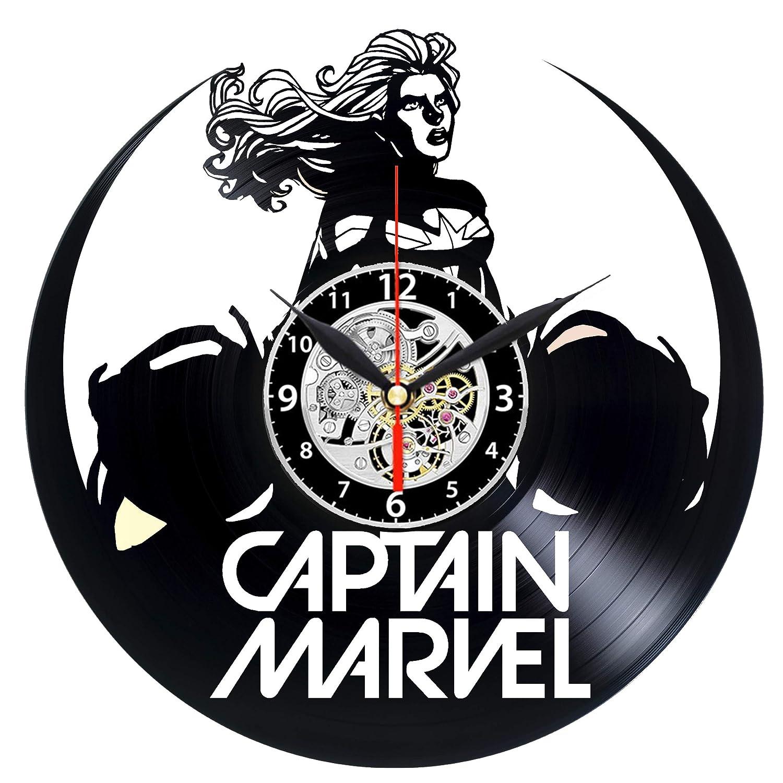 EVEVO Captain Marvel - Reloj de Pared de Vinilo, diseño de Disco ...
