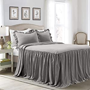 Lush Decor Dark Gray Lush Décor Ruffle Skirt Bedspread Shabby Chic Farmhouse Style Lightweight 3 Piece Set King