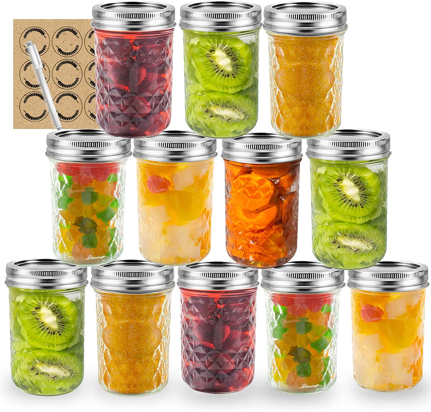 MASON JAR 8OZ 12PCS with Labels and pen, LAPANDA Regular Mouth Canning Jars with Lids and Bands, Quilted Crystal Jars Ideal for Jams, Jellies, Conserves, Preserves, Fruit Syrups, Chutneys, and Pizza Sauce