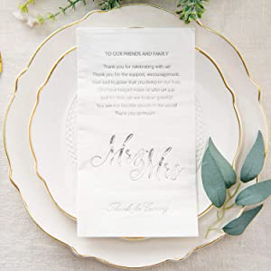 Crisky Silver Mr & Mrs Dinner Napkins Wedding Dinner Napkins Replace Thank You Card Disposable Decorative Towels for Wedding Shower Banquet, Wedding Rehearsal Dinner Decoraions ,50 Pcs, 3-ply, 12