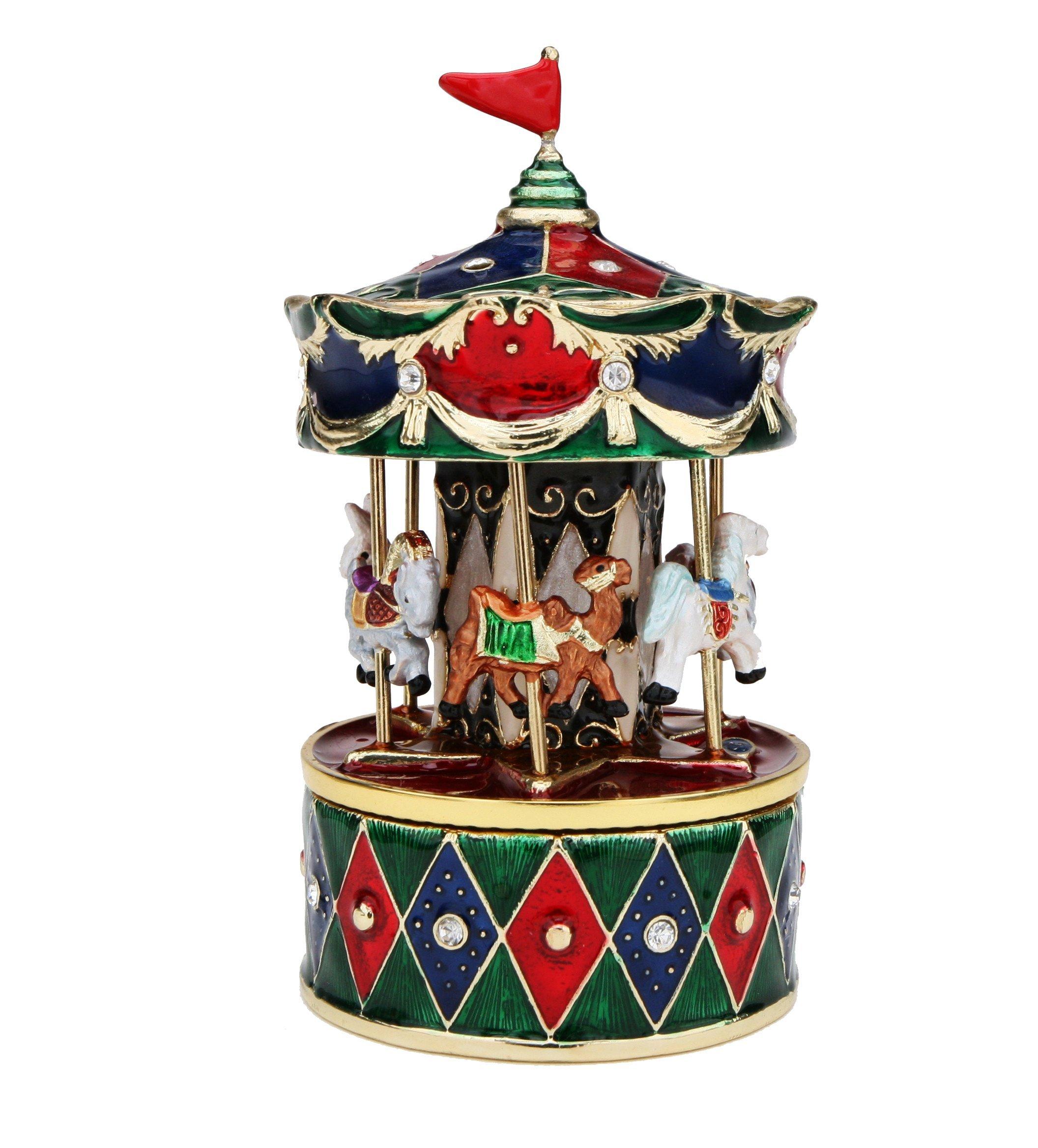 Revolving Animals Carousel Music Box - Plays ''Ave Maria''