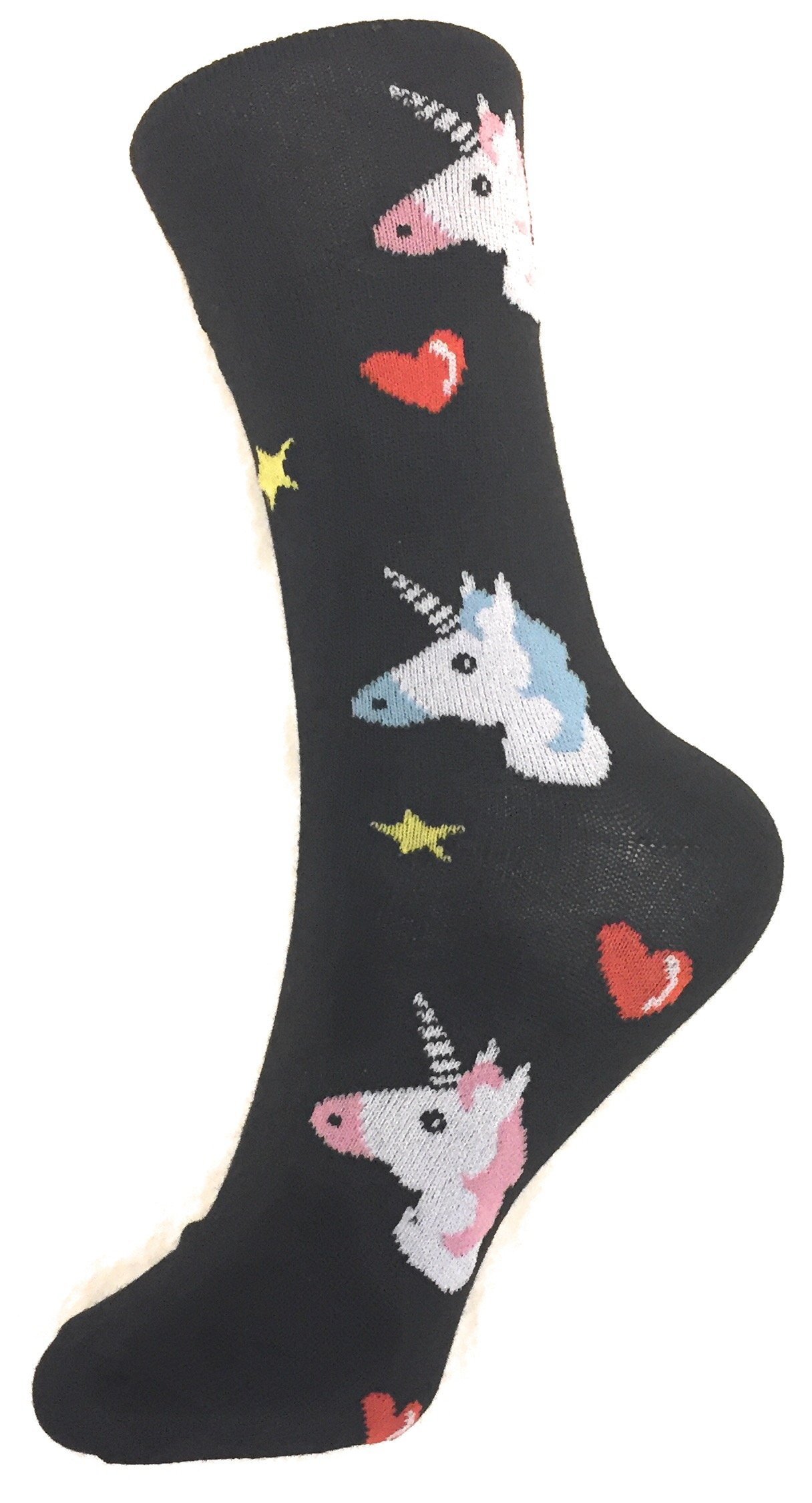 Socks-Women Crew Novelty Comfy Cozy, Trendy, Fashionable and Fun Patterns To Love (UNICORN-BLACK)