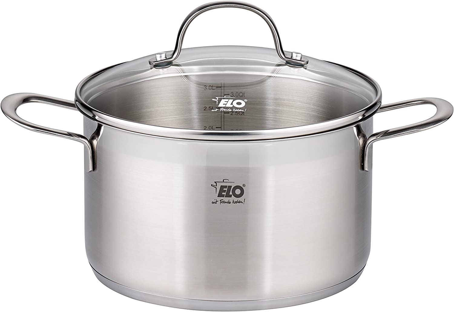 ELO Top Collection 18 10 Stainless Steel Kitchen Induction Cookware Pots and Pans Set with Shock Resistant Glass Lids and Integrated Measuring Scale, 9-Piece Renewed