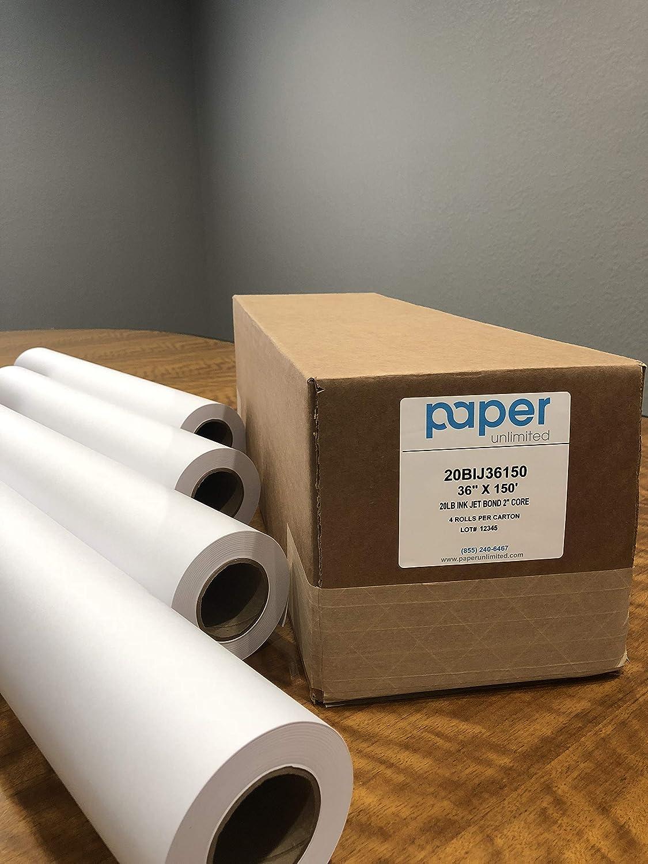 """4 Rolls 30/"""" x 150/' 20lb Bond Inkjet Plotter Paper 2/"""" core HP DesignJet"""