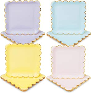 Pastel Paper Plates with Scalloped Gold Foil (9 Inches, 48 Pack)