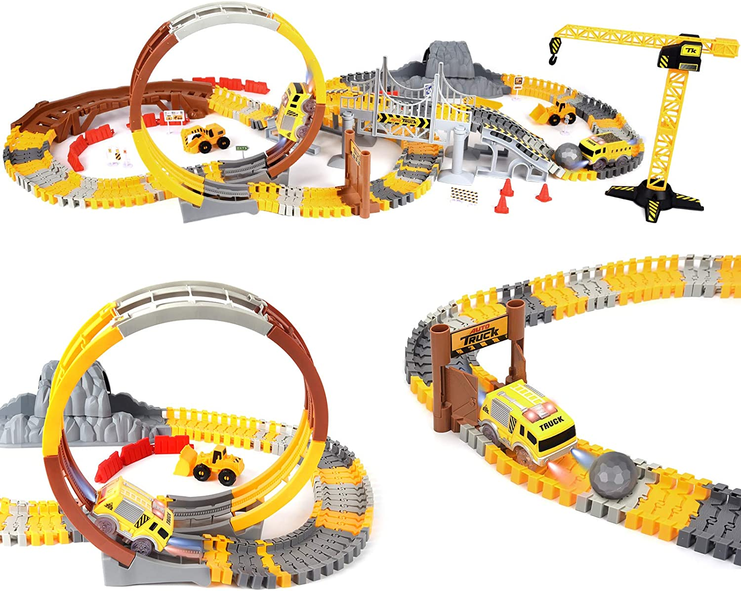 Track Toys for Kids, 227pcs Construction Themed car Race Track Sets, Flexible Trains Tracks with 2 Race Trucks, Construction Trucks as Birthday Gifts for 3 4 5 6 7 Years Old Child Boys and Girls