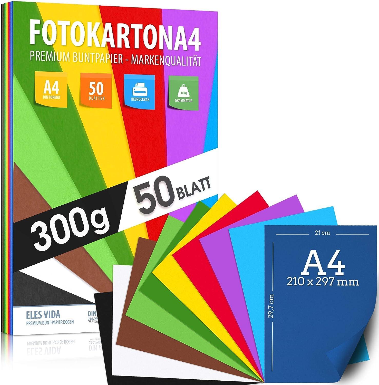 50 hojas de cartón fotográfico A4-300 g/m² de grosor - 10 colores - cartón, hojas de colores para la escuela, hobby - hojas para niños y bricolaje, accesorios para crear álbumes de