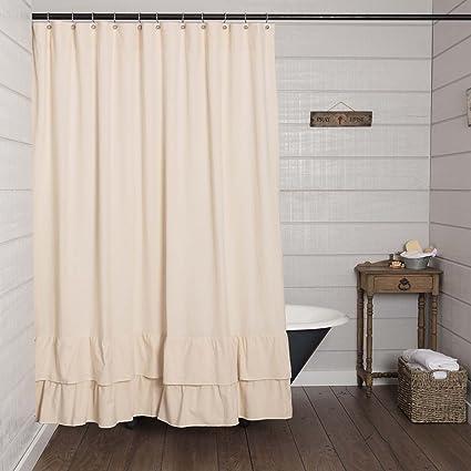 Piper Classics Ruffled Chambray Natural Shower Curtain 72x72 Farmhouse Style