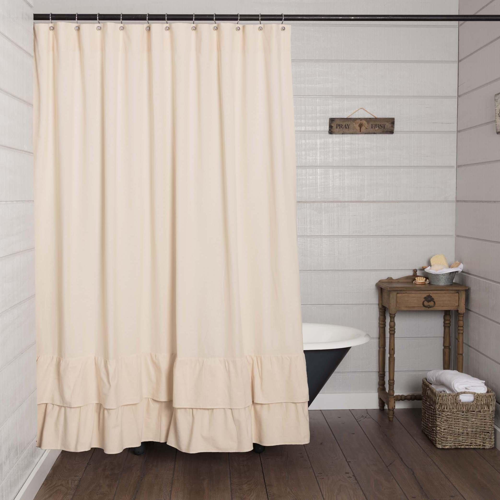 Piper Classics Ruffled Chambray Natural Shower Curtain, 72x72, Farmhouse Style