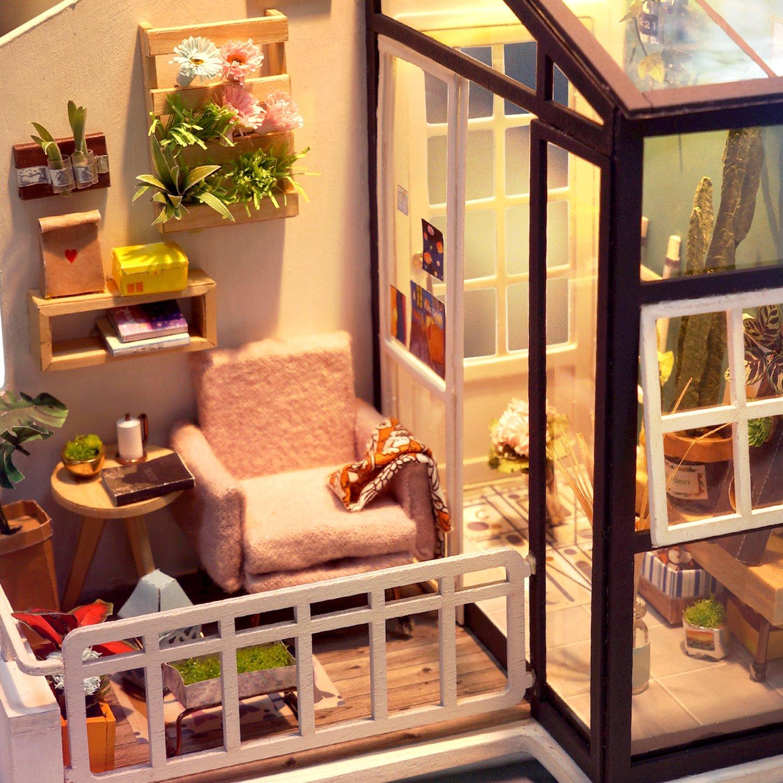 Fesselnd ROBOTIME Miniature House   Holz Puppenhaus Für 14 Jahre Alte Mädchen   Wohnzimmer  Zubehör Und Möbel Kits
