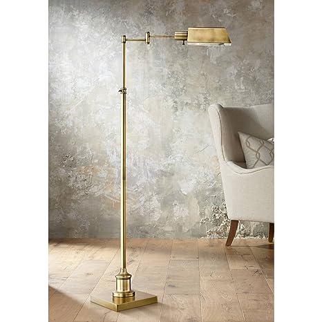 Jenson Modern Pharmacy Floor Lamp Aged Brass Adjustable Swing Arm Metal  Shade For Living Room Reading Bedroom Office   Regency Hill     Amazon.com