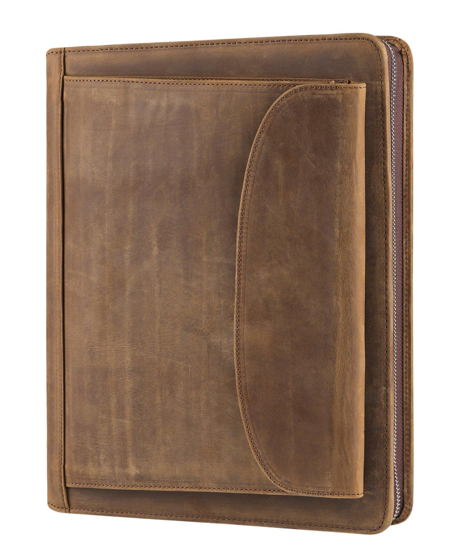 Vintage Crazy-Horse Portfolio Business Organizer Genuine Leather Padfolio Case with A4-Sized Notepad, Zipper Closure (Non-Custom, Brown)