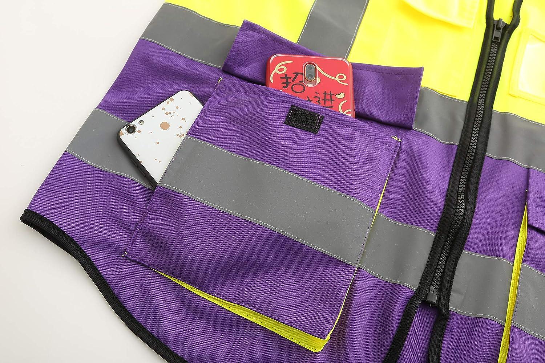 Mehrere Taschen,Mehrere Farben Unisex hochsichtbare Warnweste Hohe Sichtbarkeit Warnweste Reflektierende Weste Rei/ßverschluss EN ISO 20471 3XL, G/&G