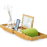 Mosa Natural Bamboo Bathtub Tray Extendable Wood Bathtub Caddy w/ Glass Holder