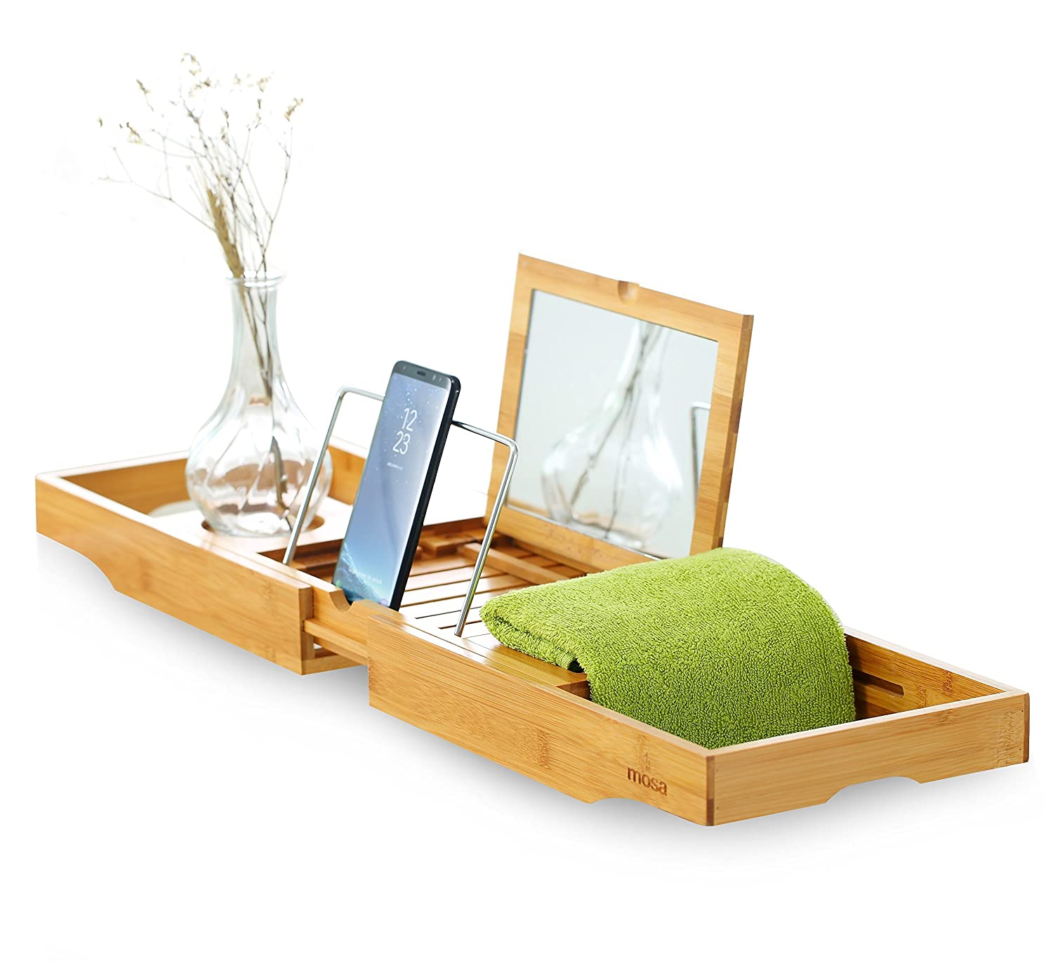 Mosa Natural Bamboo Bathtub Tray Bath Caddy Accessories, 27.6 X 8.7 X 1.9, Wooden technext020 03