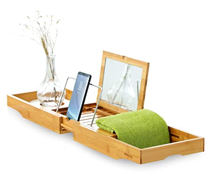 Mosa Natural Bamboo Bathtub Tray, Extendable Wood Bathtub Caddy With Glass  Holder, Wooden Tub