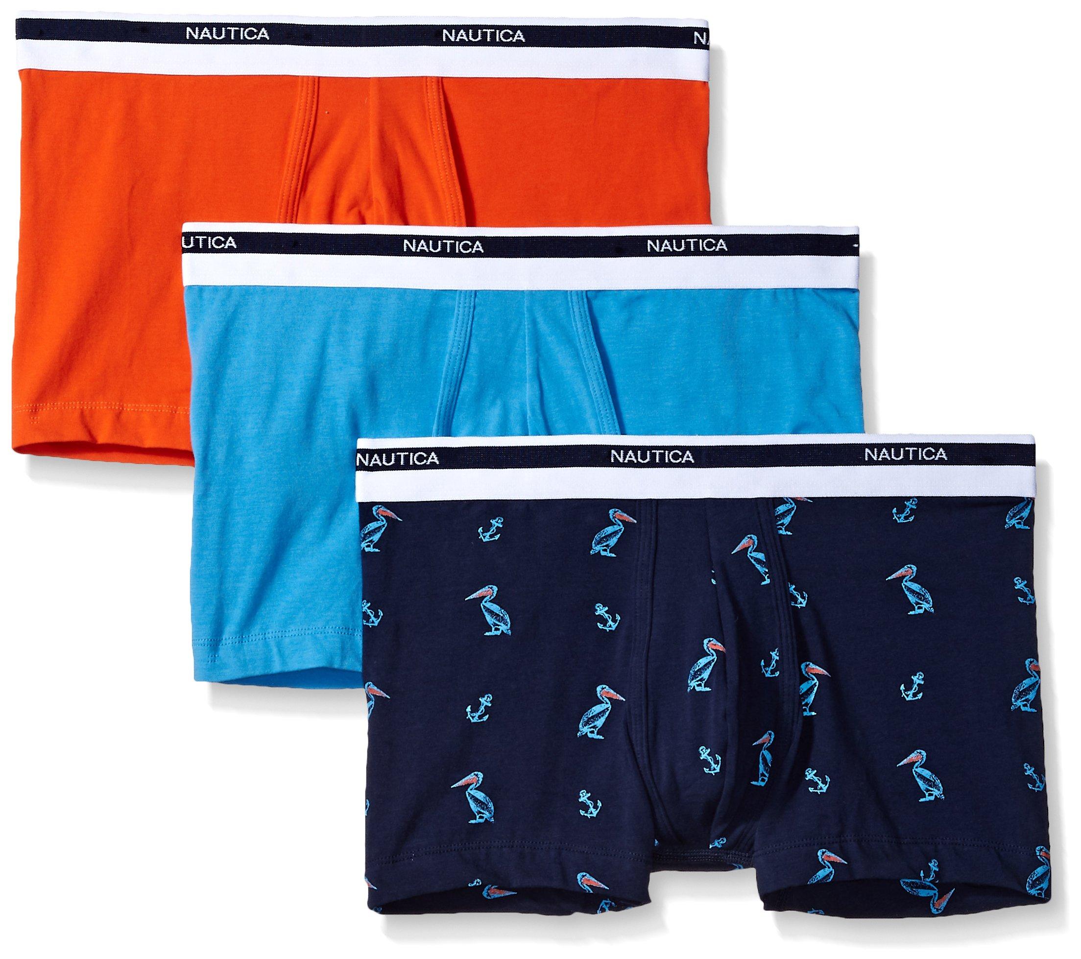 Nautica Men's Classic Underwear Cotton Stretch Trunk, Spicy Orange/Aero Blue/Crane Peacoat, M