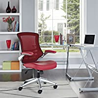 Modway MO-EEI-210-RED Attainment Leather Seat and Mesh Back with Flip-Up Arm, Office Chair, Red