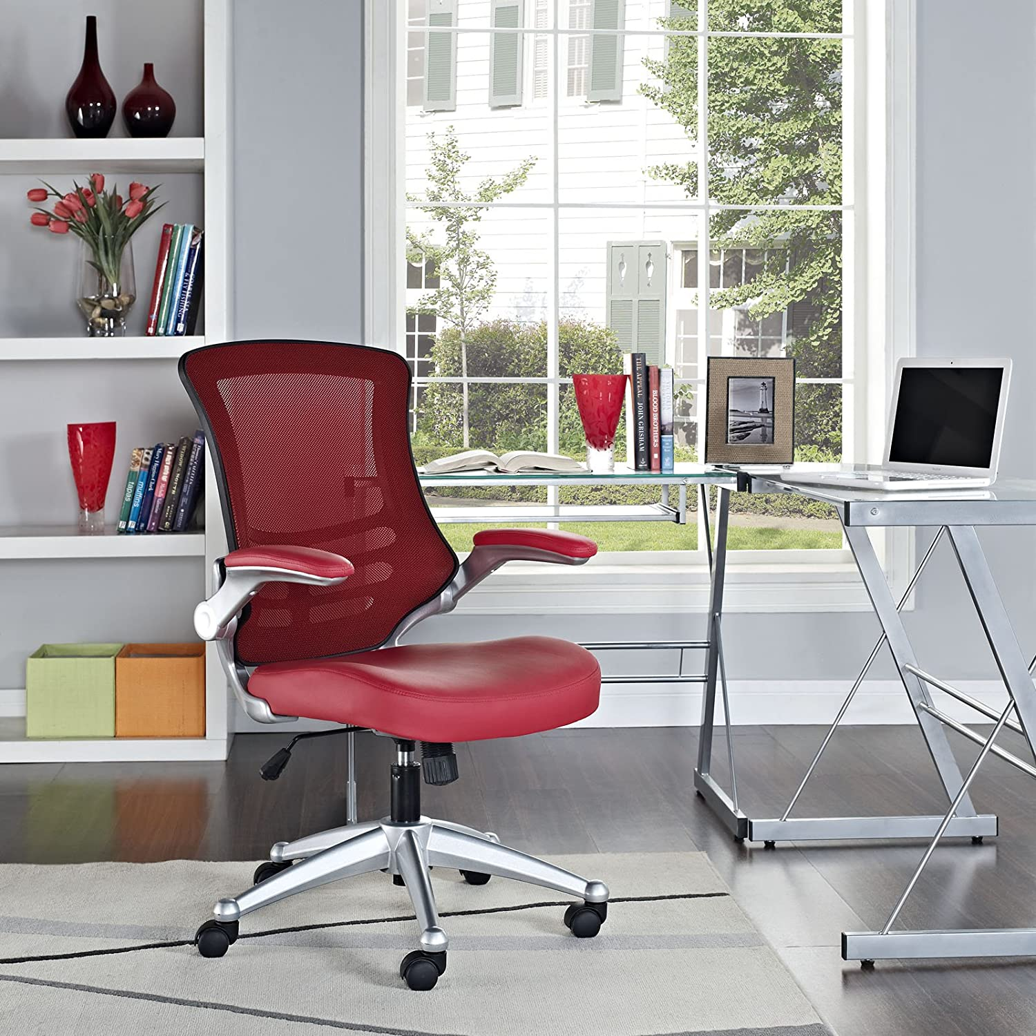 Modway Attainment Mesh Back And Red Vinyl Modern Office Chair With Flip-Up Arms - Ergonomic Desk And Computer Chair