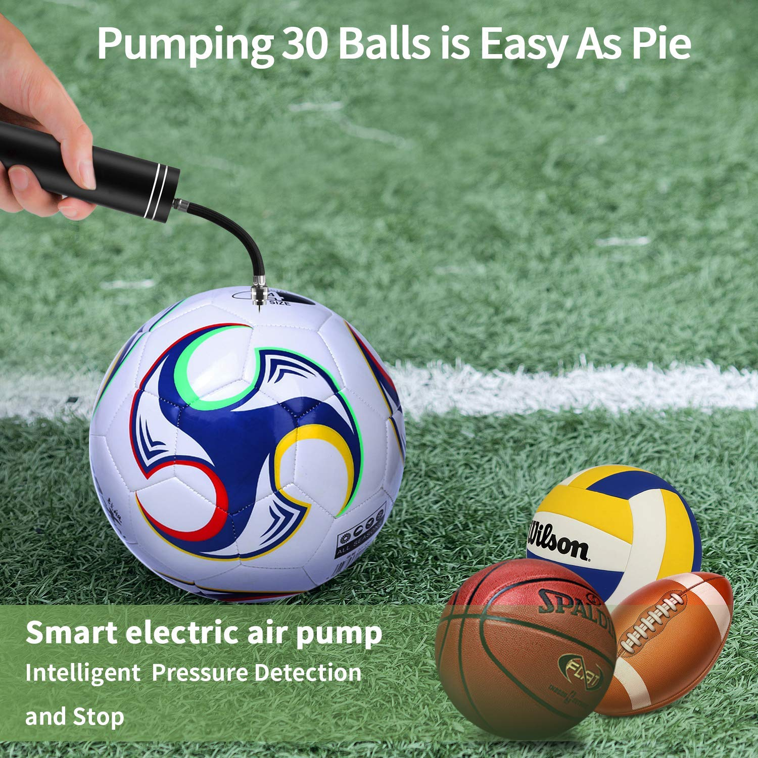 Automatic Morpilot Electric Fast Ball Pump with Needle and Nozzle - Air Pump for Inflatables, Athletic Basketball, Soccer, Volleyball, Football, Sport Ball and Swimming Ring - Faster Inflation - Porta