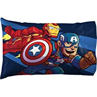 Jay Franco Marvel Super Hero Adventures Charge 1 Pack Pillowcase - Double-Sided Kids Super Soft Bedding - Features The Avengers (Official Marvel Product)